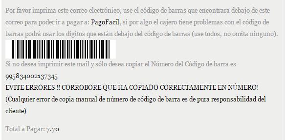 Código de Barra en Mail